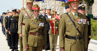 The ANZAC contingent prepare to march at the Çanakkale Martyrs' Memorial on the Gallipoli Peninsula. Photo by Corporal Matthew Bickerton
