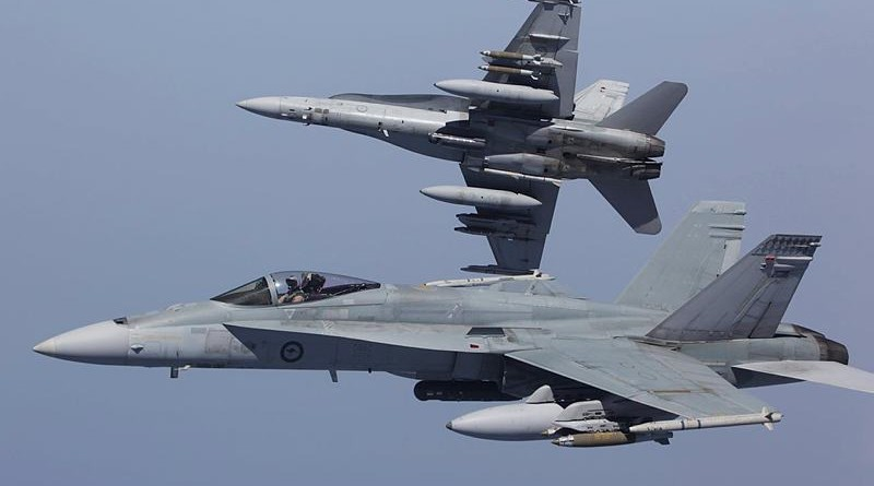 An F/A-18 Hornet breaks away on a strike mission in Iraq. ADF photo.