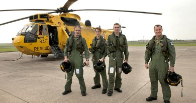 The final RAF crew to hold operational search and rescue standby commitment in the UK: (left to right) Sergeant Doug Bowden, Flight Lieutenant Ayla Holdom, Flight Lieutenant Christian 'Taff' Wilkins and Flight Sergeant Chris Scurr. Image by Corporal Peter Devine,RAF.
