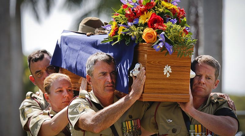 An Australian Army bearer party carries the coffin of the late Major General 'Digger' James during his funeral service at Pinaroo Cemetery in Brisbane's north on 22 October 2015.