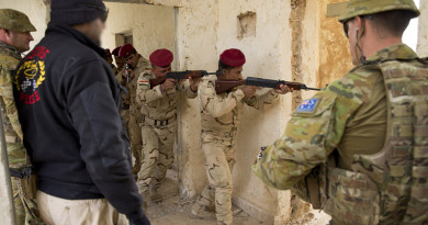 Australian Army trainers observe Iraqi Army soldiers conduct a room clearance drills at the Taji Military Complex, Iraq. Photo by Corporal Matthew Bickerton