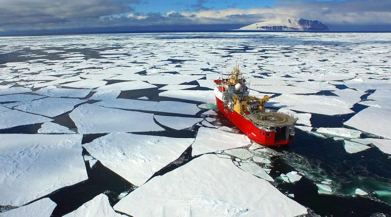 HMS Protector during her ice-breaking transit through the Ross Sea. Quad copter photo by Leading Seaman Sam Brown and Richard Walton. © Crown copyright 2016
