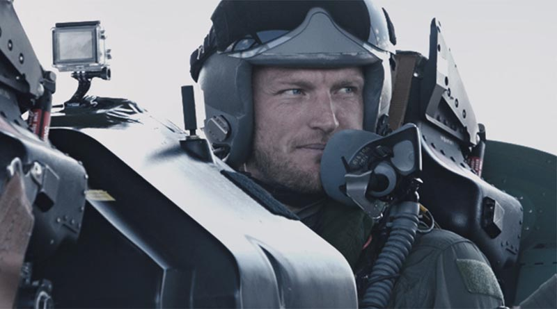 Tennis ace Sam Groth flies with RAAF Roulettes.