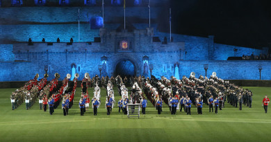 Members of the Combined Military Bands of the Australian Defence Force and Members of the Pipes and Drums of the Australian Defence Force perform a full dress rehearsal for the 2016 Royal Edinburgh Military Tattoo at Etihad Stadium. Photos by Leading Seaman Nina Fogliani