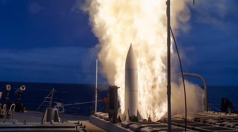 US Navy file photo –Arleigh-Burke class guided-missile destroyer USS John Paul Jones launches a Standard Missile 6 (SM-6) during a live-fire test of the ship's aegis weapons system in 2014.