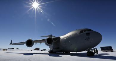 A No 36 Squadron C-17A Globemaster sits at Wilkins Aerodrome in Antarctica. File photo by Corporal David Said