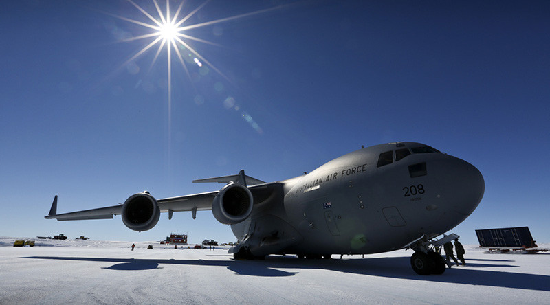 A No 36 Squadron C-17A Globemaster sits at Wilkins Aerodrome in Antarctica. File photo by Corporal David Said