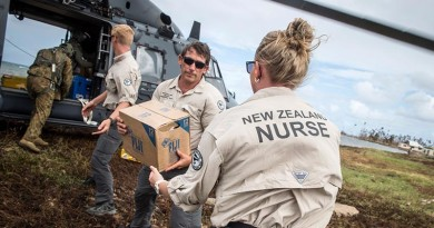 A RNZAF NH90 Helicopter lands in Nasau, Koro Island to deliver personnel, aid, and equipment. The NZDF has deployed to Fiji to provide Humanitarian Aid and Distaster Relief following Tropical Cyclone Winston. Members of the New Zeland Medical Assistance Team help unload.