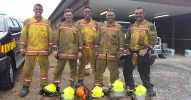 NZDF firefighters in Tasmania, Lance Corporal Thomas Grant, Leading Aircraftman Jonathan McGovern, Lance Corporal Lance Harris, Warrant Officer Class 1 Brent Ruruku and Corporal Joshua Nahi after a day of fighting wildfires at Arthur River in north-western Tasmania.