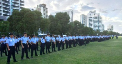 Cadets and instructors of 7 Wing Australian Air Force Cadets form up at Langley Park before their Freedom of Entry parade in Perth. Photo taken from 7 Wing's Facebook page and edited by CONTACT.