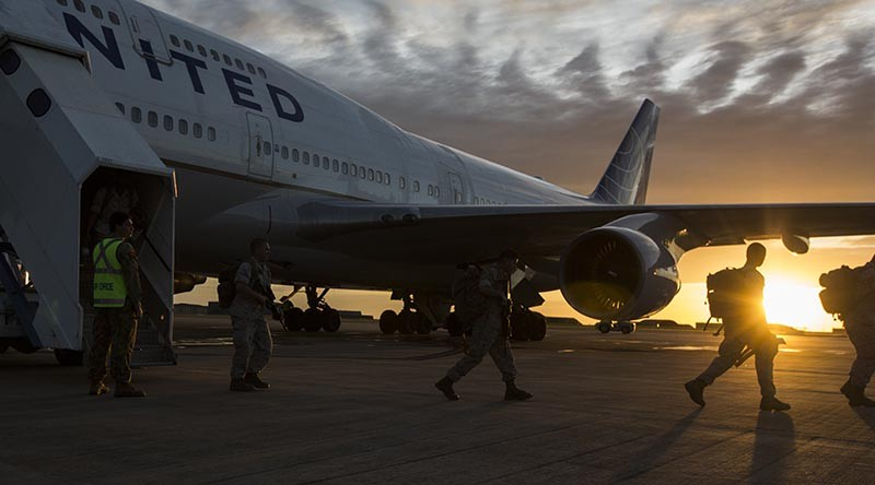 U.S. Marines with the 1st Battalion, 1st Marine Regiment, arrive in Darwin, Australia to begin preparation for exercise Marine Rotational Force-Darwin (MRF-D) on April 13, 2016. US Marine Corps Photo by Lance Cpl. Osvaldo L. Ortega III
