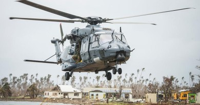 A RNZAF NH90 lands in Nasau, Koro Island to deliver personnel, aid, and equipment.