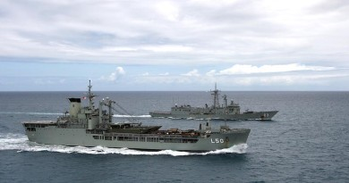 HMAS Tobruk and HMAS Sydney conduct Officer of the Watch manoeuvres (2013).