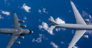 Flight test trials of a RAAF KC-30A Multi Role Tanker Transport refuelling a RAAF C-17A Globemaster III during the first air-to-air refuel near Brisbane Queensland. Photo by Sergeant Rodney Welch