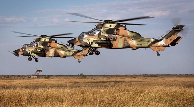 Tiger Armed Reconnaissance Helicopters land at RAAF Learmonth after conducting security operations during an Exercise Northern Shield scenario. Photo by Corporal Janine Fabre