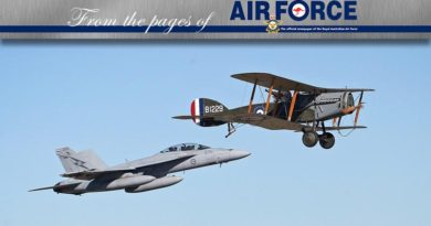A formation flight with No 1 Squadron (1SQN) F/A-18F Super Hornets and a Bristol F2B Fighter (aircraft flown by 1SQN in World War 1) commemorates the SQN's Centenary and marked 1SQN's first operational sorties on 12 June 1916. The Bristol F2B Fighter was provided by TAVAS (WWI vintage aircraft society) and flown by Jack McDonald. The Bristol was painted in WWI-era 1SQN colours and had the tail number B1229. The tail number was flown by Ross McPherson Smith who achieved 10 of his 11 victories in this aircraft.Photo by David White