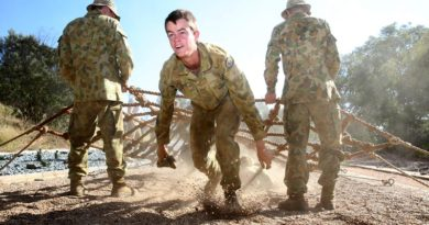 Cadet Sergeant Tim North going through the obstacle course at the Royal Military College Duntroon, during the 2013 ATA. Photo by Corporal Max Bree