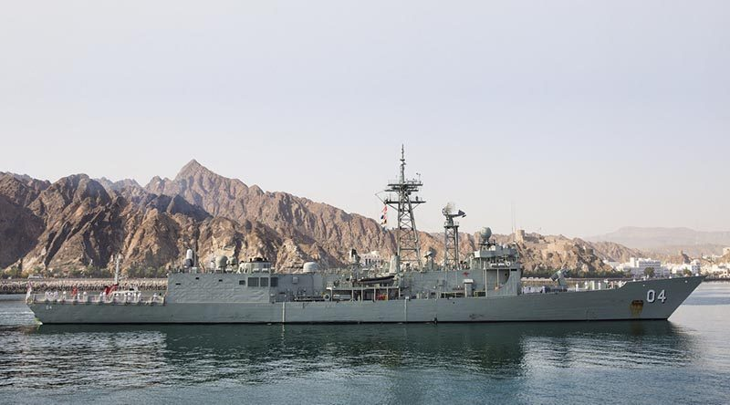 FILE PHOTO: HMAS Darwin sails into Muscat, Oman.