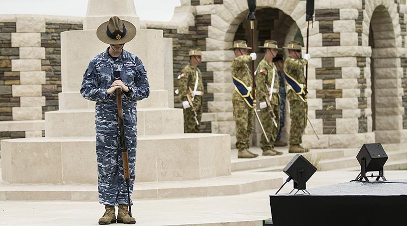 Australian Defence Force personnel from Australia's Federation Guard and Australian Army's 2nd Division rehearse at VC Corner, Fromelles, France, ahead of the commemorations of the centenaries of the First World War battles of Fromelles and Pozières. Photo by Sergeant Janine Fabre