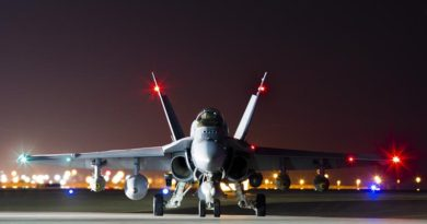 A Royal Australian Air Force F/A-18A Hornet prepares to depart on a mission to strike a Deash headquarters compound in Mosul, Iraq, from Australia's main air operating base in the Middle East region. Photo by Corporal Nicci Freeman