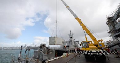 A container of medical supplies being loaded onto HMNZS Wellington, bound for Vanuatu.