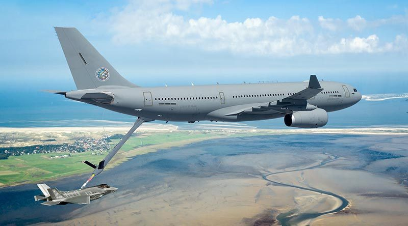 Future NATO A330 MRTT refuelling an F-35 Lighting. Artist's impression supplied by Airbus