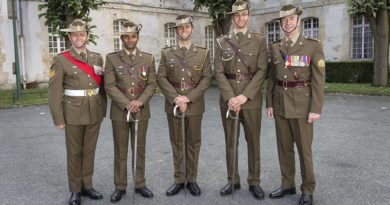 Australian Army soldiers Sergeant Kevin Williams, Lieutenant Roger Fredrick, Lieutenant James Levchenko, Lieutenant Nicholas Bassett and Warrant Officer Class One Ken Bullman pose in the new Australian Army ceremonial uniform ahead of the French National Day parade in Paris. Photo by Sergeant Janine Fabre