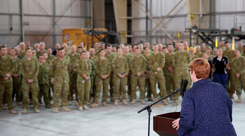 Minister for Defence Marise Payne addresses Australian Defence Force and civilian personnel at Camp Baird in the Middle East Region. Photo by WO2 Andrew Hetherington