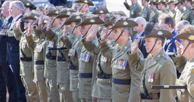 Australian Army soldiers from various light horse units salute during the Battle of Romani commemorative service at the Desert Mounted Corps Memorial in Canberra on 5 August 2016. Photo by Sergeant Mick Davis