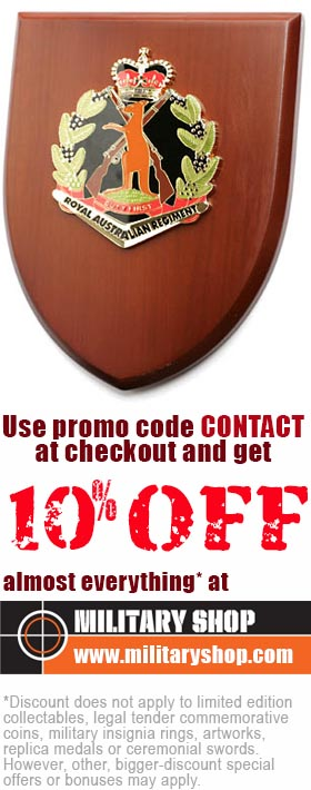*10% discount does not apply to limited edition collectables, legal tender commemorative coins, military insignia rings, artworks, replica medals and ceremonial swords. Other, bigger-discount special offers or bonuses may apply.