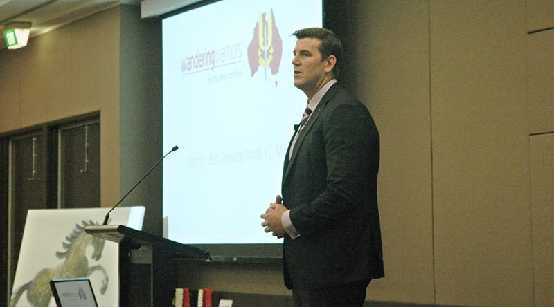 Ben Roberts-Smith VC MG address a Wandering Warriors' luncheon.