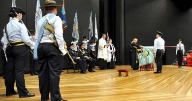 Australian Air Force Cadets, staff, senior RAAF officers, families and supporters witness Air Vice Marshal Peter Yates present a Governor-General's Banner to the Australian Air Force Cadets, at ADFA, in recognition of 75 years continuous community service. The Governor-General was in Israel for a State Funeral.