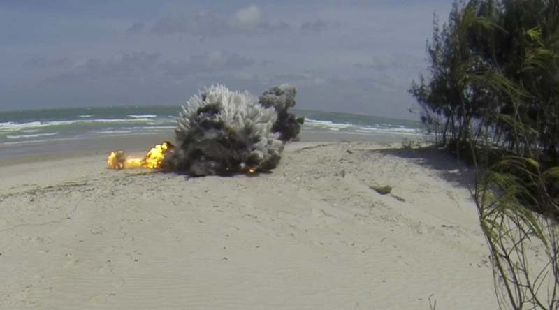 Defence explosive specialists successfully detonate marine hazard object on Newcastle Bay Beach, Cape York. Photo by Able Seaman Kayla Hayes.