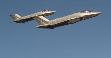 A Royal Australian Air Force F-35A flies in formation with a US Air Force F-35 during trial flights from Luke Air Force Base in Phoenix Arizona. Lockheed Martin photo by Matthew Short (digitally altered (removed F-16) by CONTACT)