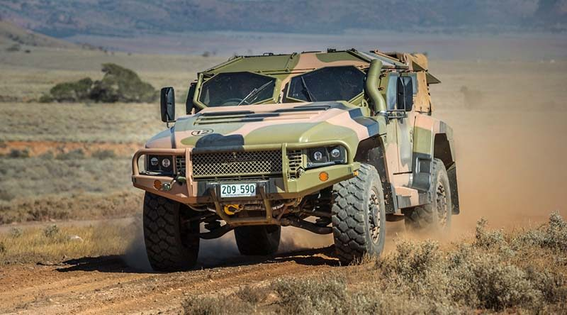 An Australian Army Hawkei protected mobility vehicle, one of the Army's new generation of combat vehciles, during Exercise Predator's Gallop in Cultana training area, South Australia, on 12 March 2016. Photo by Corporal Nunu Campos.