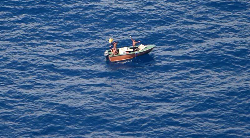 Three fishermen missing from Kiribati found by RNZAF Orion, 9 November 2016. NZDF photo