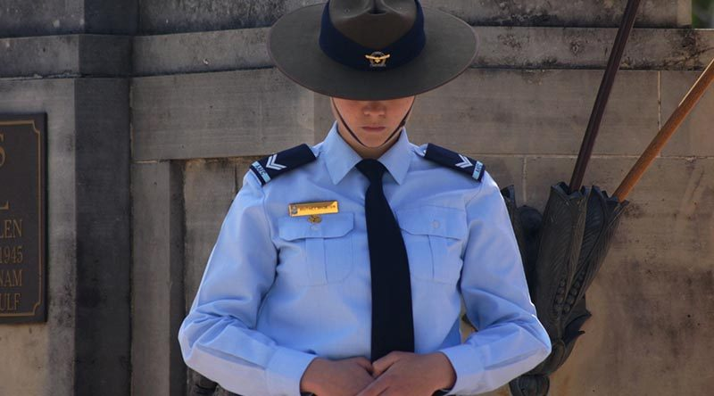 Remembrance Day –file photo – Cadet Corporal Britney Shorter on catafalque duty.
