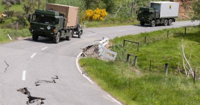 CAPTION: Part of a convoy of 27 New Zealand Defence Force trucks braved bad weather and risks of further landslides to bring much-needed fuel and water supplies to quake-damaged Kaikoura this afternoon. NZDF photo.