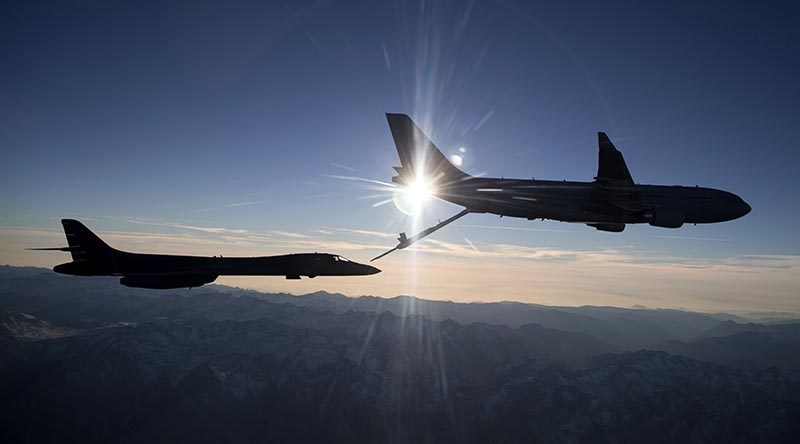Air-to-air refuelling trials between the KC-30A Multi-Role Tanker Transport and United States Air Force B-1B Lancer. USAF photo by Christian Turner