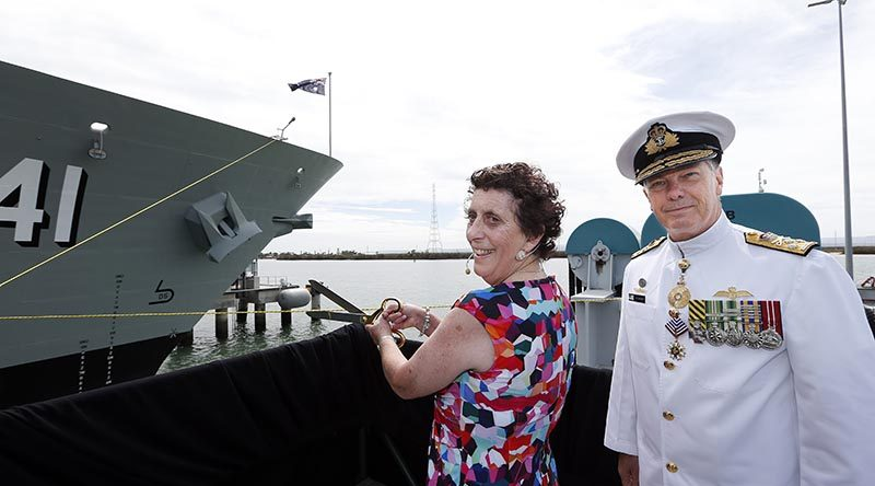 Mrs Robyn Shackleton, wife of former Chief of Navy and Commanding Officer of HMAS Brisbane II, Vice Admiral David Shackleton (retired), was guest of honour and launching lady, sending the destroyer on her way with the traditional toast and smash of a bottle. Photographer unknown, via Navy Daily.
