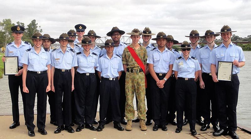Air Force Cadets from 622 Squadron at the Murray Bridge Australia Day Ceremony, with Cadet Sergeant Joshua Kirpensteyn from 45 ACU and Young Citizen of the Year nominees (holding certificates) CUO Samuel Mach (left) and CFSGT Walter Harris.