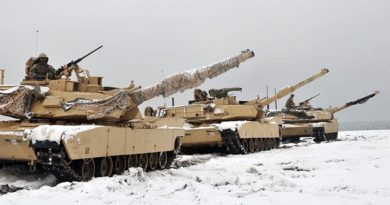 Three M1A2 Main Battle Tanks are staged before soldiers assigned to 1st Battalion, 68th Armor Regiment, 4th Infantry Division conduct the first Live Fire Accuracy Screening Tests at Presidential Range in Swietozow, Poland, January 16, 2017. Photo by Staff Sgt. Elizabeth Tarr