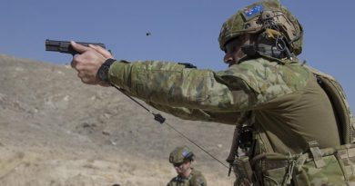 Australian Army soldier, Corporal Michael Piliaé-Smith, deployed with Force Protection Element 6, maintains his shooting skills on the L9A1 pistol in Qargha, Afghanistan. Photo by Flight Lieutenant Jessica Aldred.