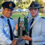 Cadet Corporal Josef Gerstenmayer receives the 6 Wing SNCO Course Encouragement Award (Course A) from the Commander of the AAFC, Group Captain (AAFC) Mark Dorward
