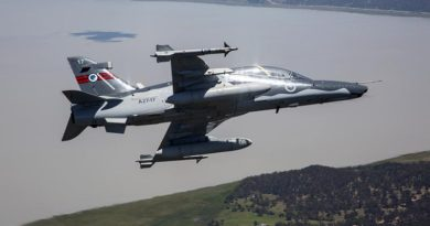 An A27 Hawk 127 operated by No 76 Squadron participates in a training activity over Lake George in the ACT. Photo by Sergeant Shane Gidall.