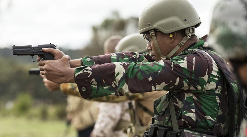 An Indonesian soldier competes in the Australian Army Skill at Arms Meeting at Puckapunyal, Victoria, in May 2016. Photo by Sergeant Janine Fabre.
