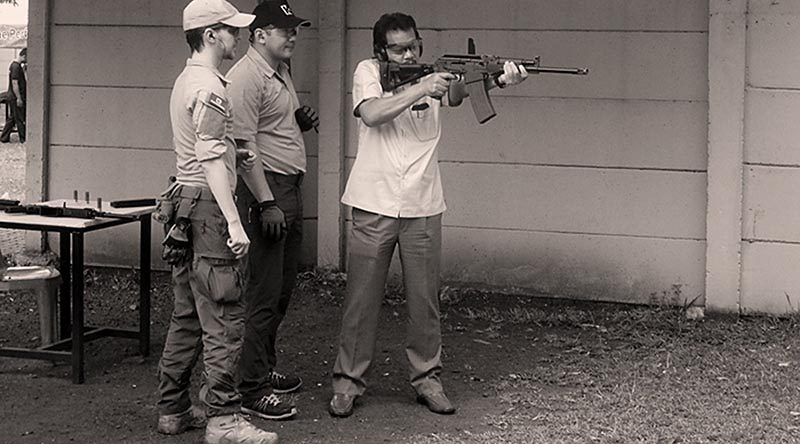 Training on the Kalashnikov Saiga 12-C. Photo supplied.