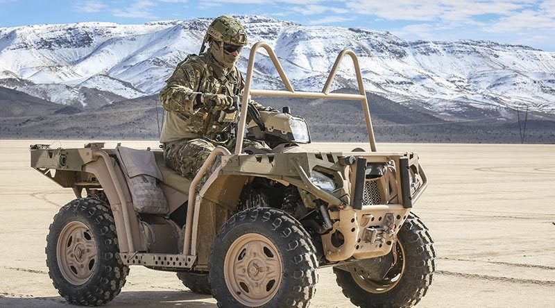 A member of No. 4 Squadron Combat Control Team on an MV-850 quadbike during an airfield survey on a dry lake bed in the Nevada Test and Training Range. The Quadbike is used to traverse distances around an airfield quickly during survey missions in the field. Photo by Corporal Brenton Kwaterski.