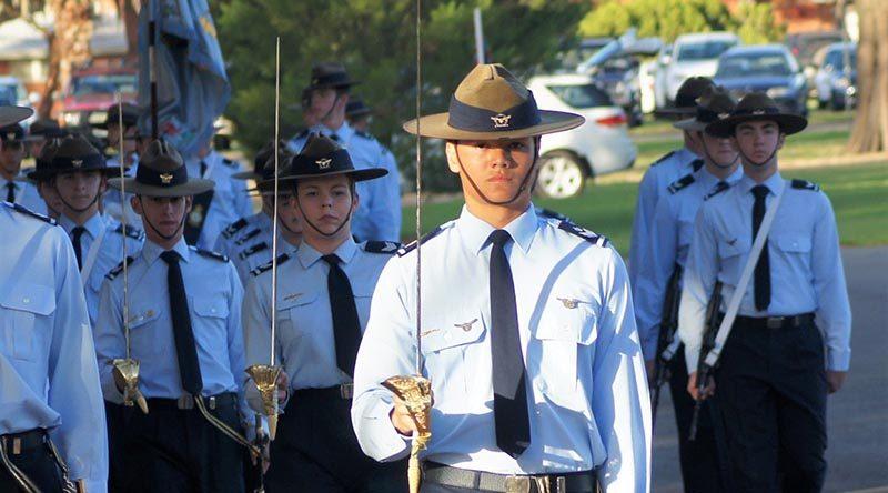 Parade Commander CFSGT Kyle Roberts (609 Squadron, Warradale Barracks), dux of the Cadet Under Officer Course.