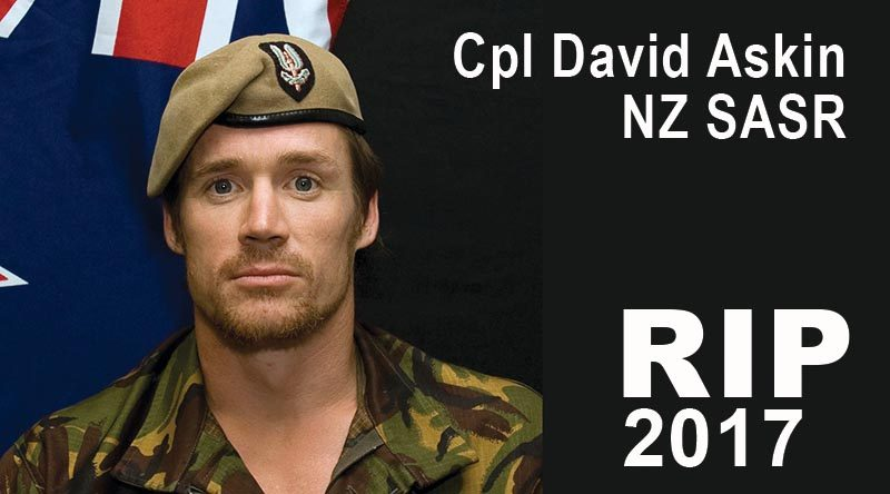 Corporal David Steven Askin, former New Zealand SASR, killed in a helicopter crash, 14 February, while fighting bushfires near Christchurch. NZDF file photo.